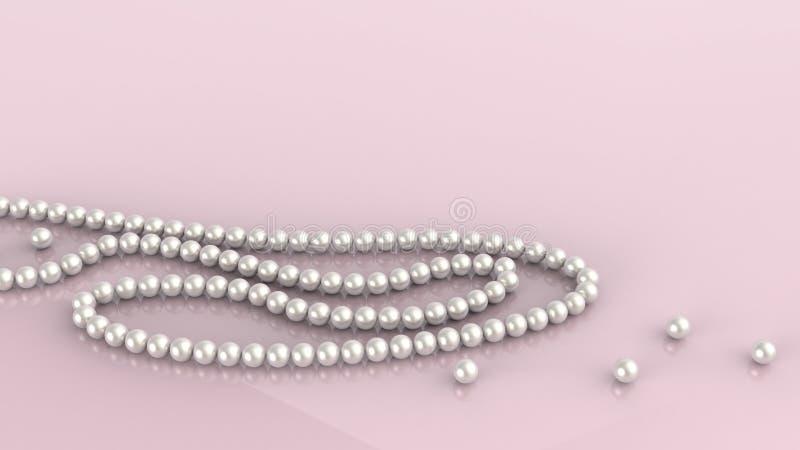 Il fondo delicato rosa con le perle 3d della perla rende illustrazione di stock