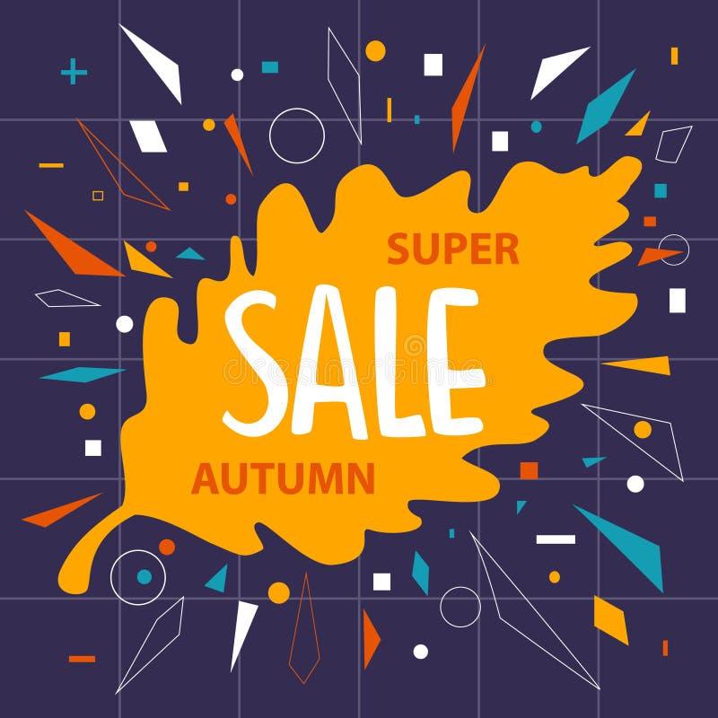 Il fondo dell'insegna di vendita della foglia della quercia di caduta di autunno con i coriandoli geometrici modella illustrazione di stock