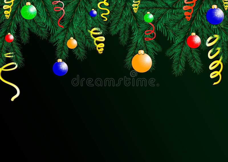 Il fondo della festa con i desideri di stagione ed il confine dell'albero di Natale di sguardo realistico si ramifica decorato illustrazione vettoriale