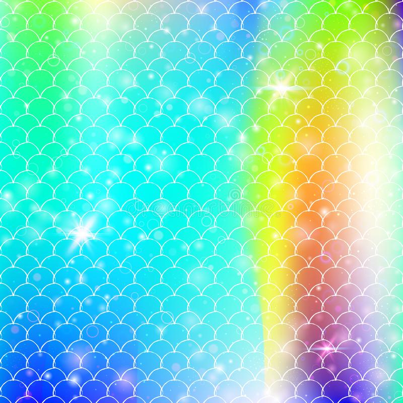 Il fondo della sirena di Kawaii con l'arcobaleno di principessa riporta in scala il modello illustrazione di stock