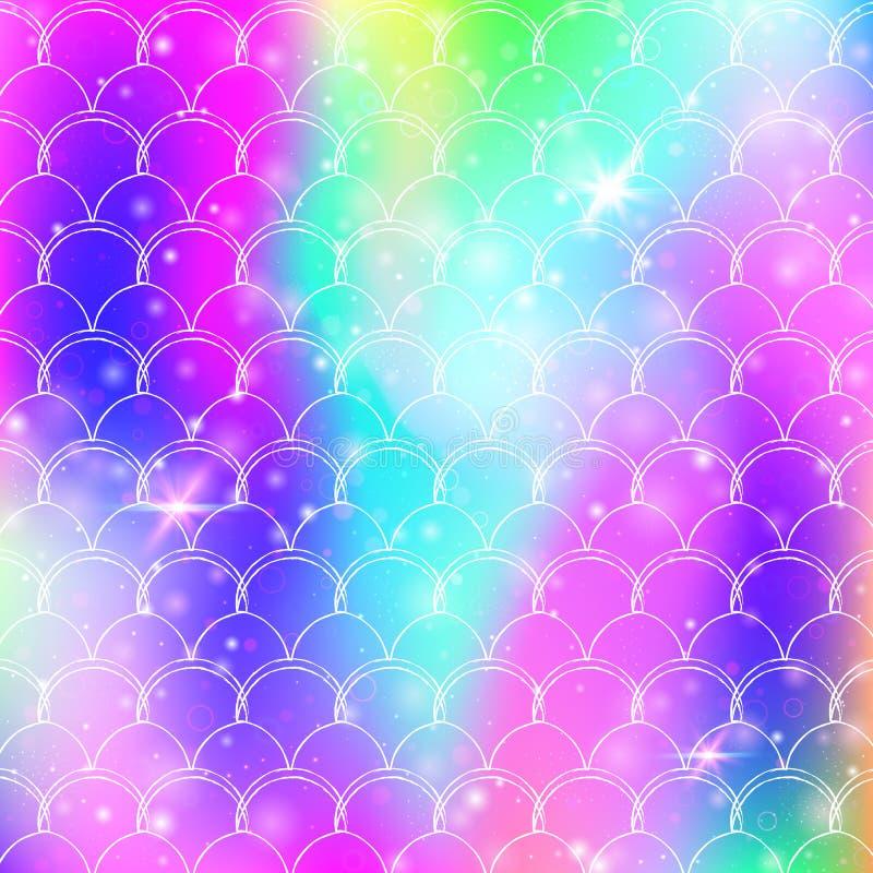 Il fondo della sirena di principessa con l'arcobaleno di kawaii riporta in scala il modello royalty illustrazione gratis