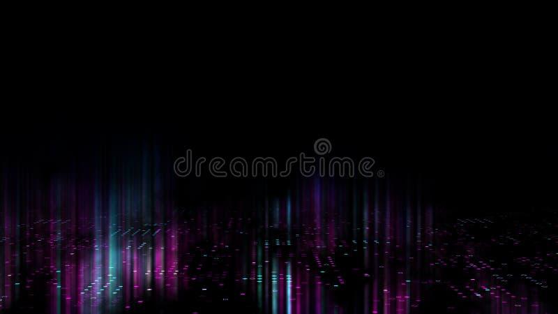 il fondo di astrattismo 3d rende, cerchi e punti sull'illustrazione del nero, del retrowave e dello synthwave illustrazione di stock