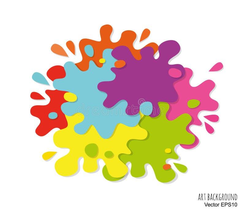 Il fondo di astrattismo fatto di pittura macchia e spruzza Colori luminosi illustrazione di stock