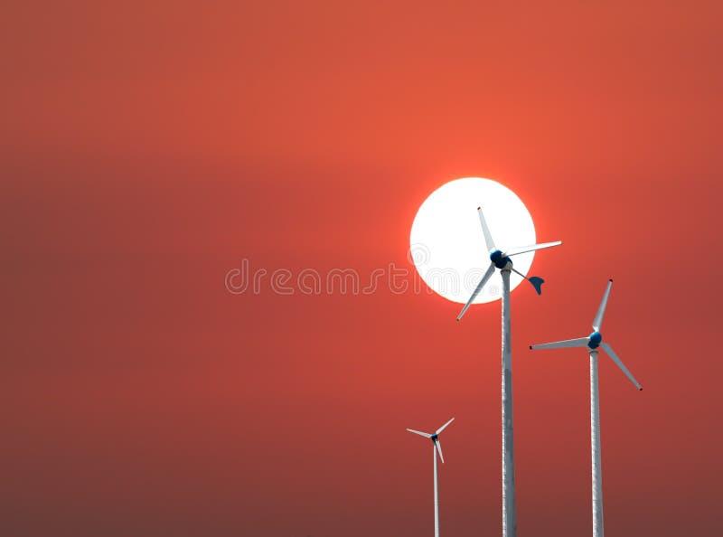 il fondo di aumento 1Sun di mattina ed ha generatore eolico immagini stock libere da diritti