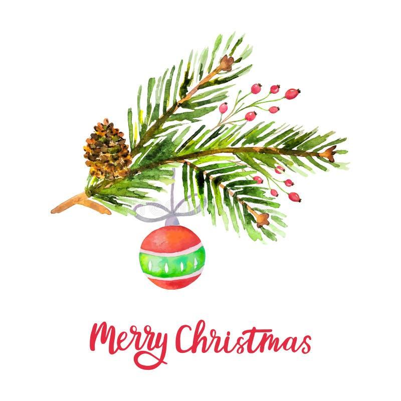 Il fondo di Buon Natale dell'acquerello con il pino si ramifica, cono, le bacche dell'agrifoglio, palla di natale isolata su fond royalty illustrazione gratis