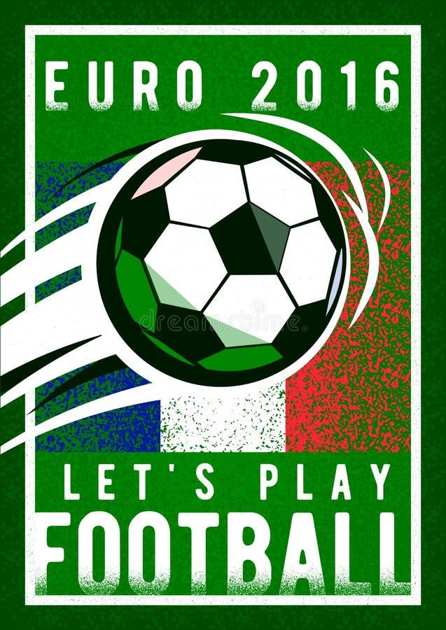 Il fondo 2016 di campionato di calcio dell'euro con, la palla del segno e la Francia inbandierano i colori Struttura di rugosità illustrazione vettoriale