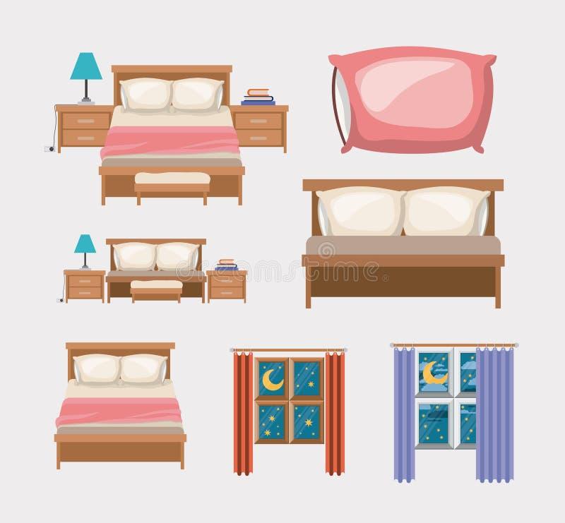 Il fondo di colore con la camera da letto e gli elementi si dirigono illustrazione vettoriale
