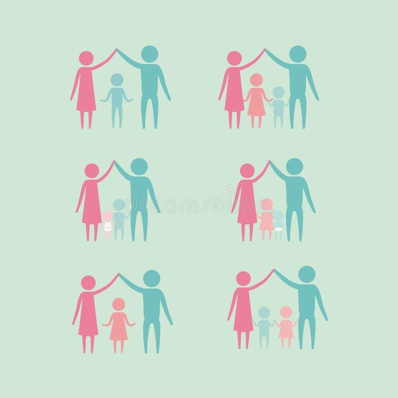 Il fondo di colore con le generazioni stabilite del pittogramma della siluetta coppia i genitori ed i bambini royalty illustrazione gratis