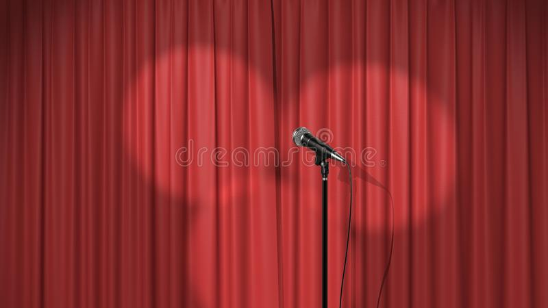Il fondo di concerto, la tenda rossa con i riflettori e un microfono, 3d rendono illustrazione di stock