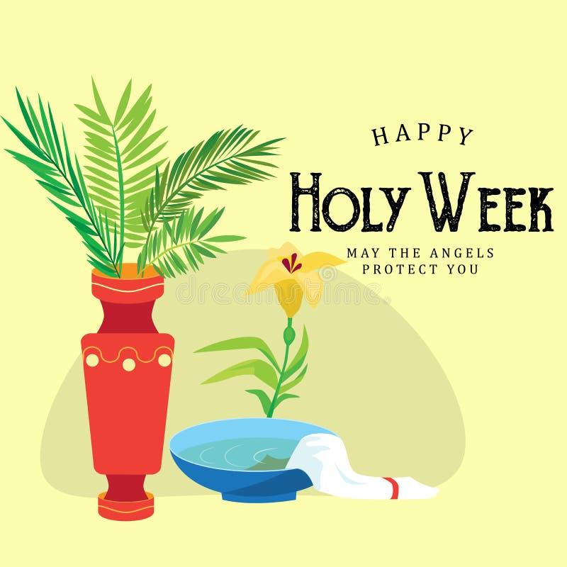 Il fondo di Domenica delle Palme e di settimana santa, il ramo verde in vaso ed i fiori vector l'illustrazione illustrazione di stock
