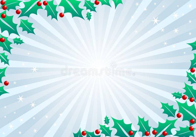 Il fondo di festa di Natale con i fiori e le foglie della stella di Natale, aspetta per la vostra progettazione illustrazione vettoriale