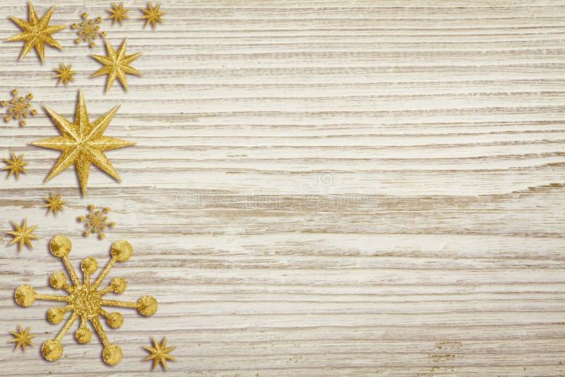 Il fondo di legno di Natale, neve Stars la decorazione, legno bianco fotografie stock