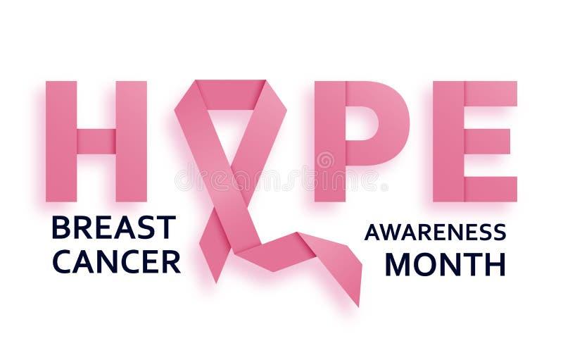 Il fondo di mese di consapevolezza del cancro al seno con il nastro rosa ed il testo sperano illustrazione di stock