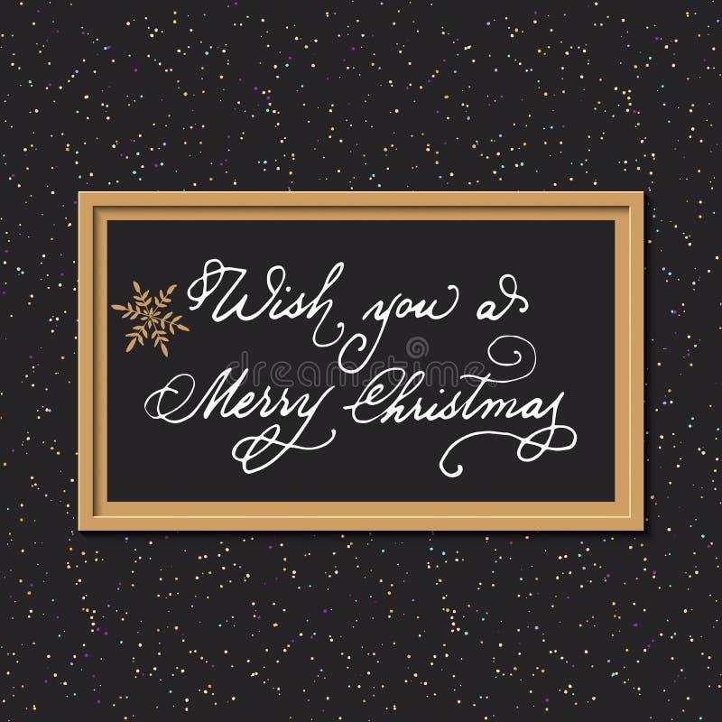 Il fondo di Natale con le parole disegnate a mano vi augura il Buon Natale nel telaio progettazione per le carte di regalo, stamp royalty illustrazione gratis