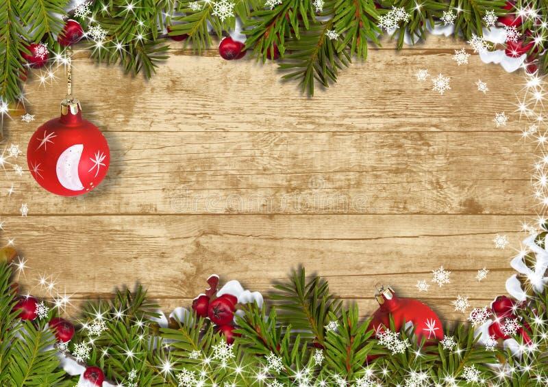 Il fondo di Natale con un confine di abete si ramifica, ball&holly illustrazione di stock
