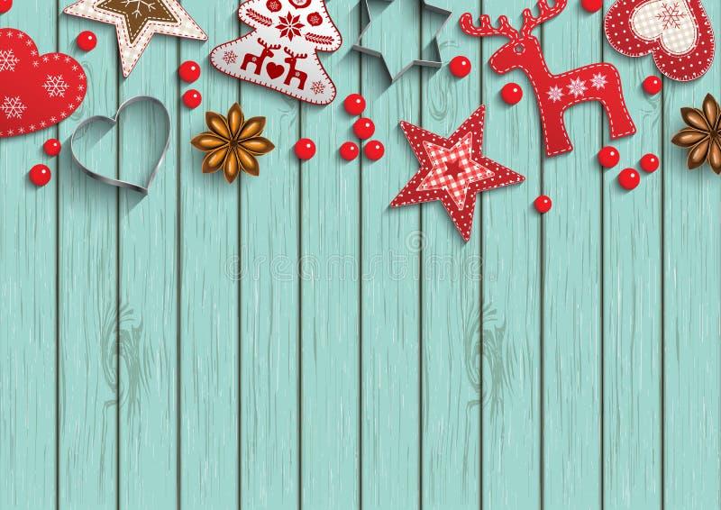 Il fondo di Natale, piccole decorazioni disegnate scandinave che si trovano sul pois ha modellato il contesto, illustrazione illustrazione vettoriale