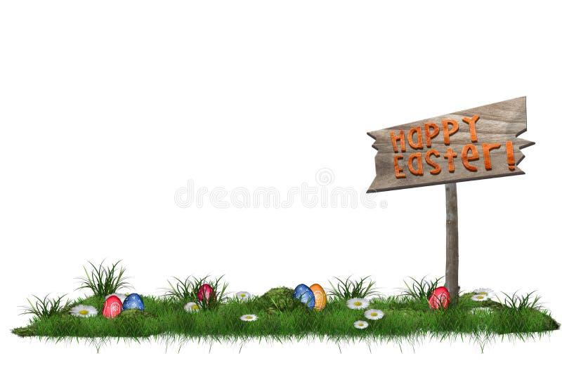 Il fondo di Pasqua con le uova nell'erba e Pasqua felice firmano illustrazione di stock