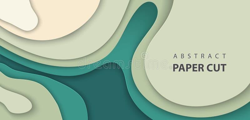Il fondo di vettore con la carta verde-cupo di colore ha tagliato le forme di onde stile di carta astratto di arte 3D, disposizio illustrazione vettoriale