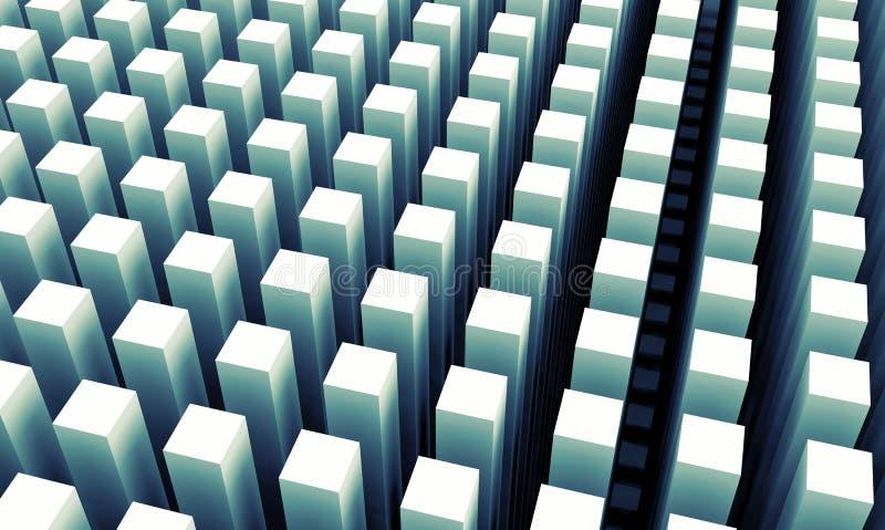 Il fondo digitale astratto con le colonne blu allinea il modello illustrazione di stock