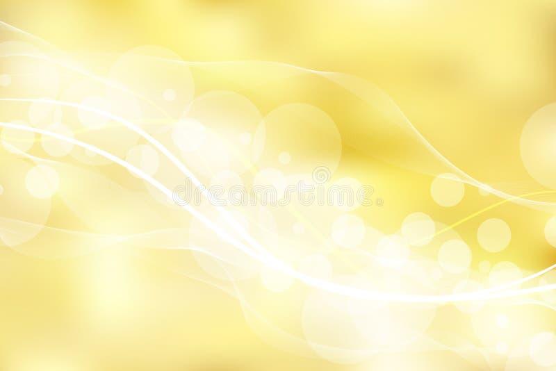 Il fondo e la struttura dell'oro con bokeh curvano le linee luce Elegan illustrazione vettoriale