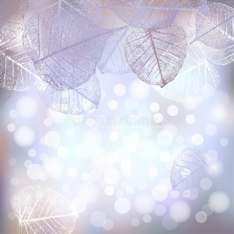 Il fondo festivo dell'inverno delle luci del bokeh con la struttura della brina va royalty illustrazione gratis