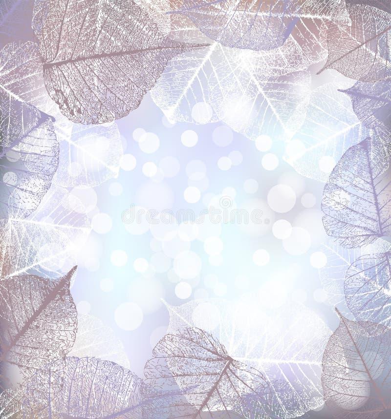 Il fondo festivo dell'inverno delle luci del bokeh con la struttura della brina va illustrazione di stock