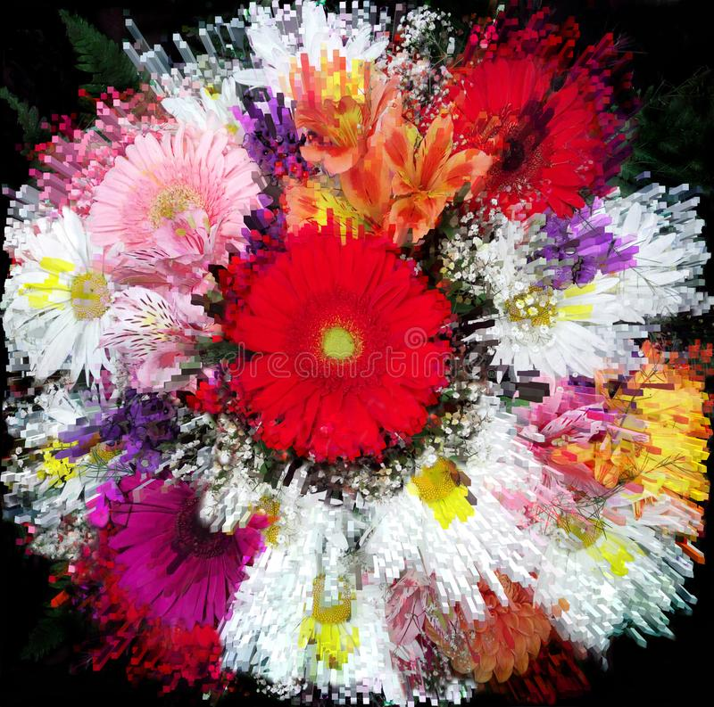 Il fondo floreale con il lerciume stilizzato ha barrato il mazzo vivo della camomilla, la gerbera, giglio immagine stock