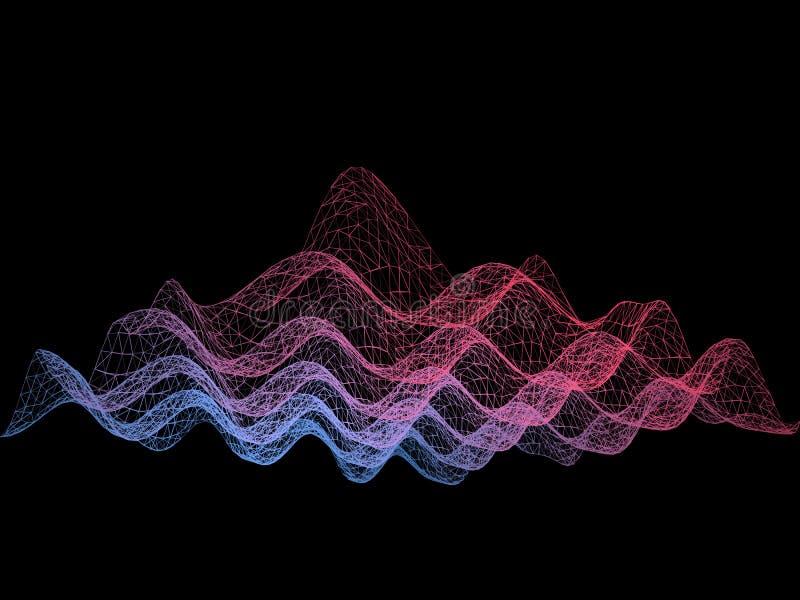 Il fondo futuristico astratto di rumore dalle linee ha collegato la griglia royalty illustrazione gratis