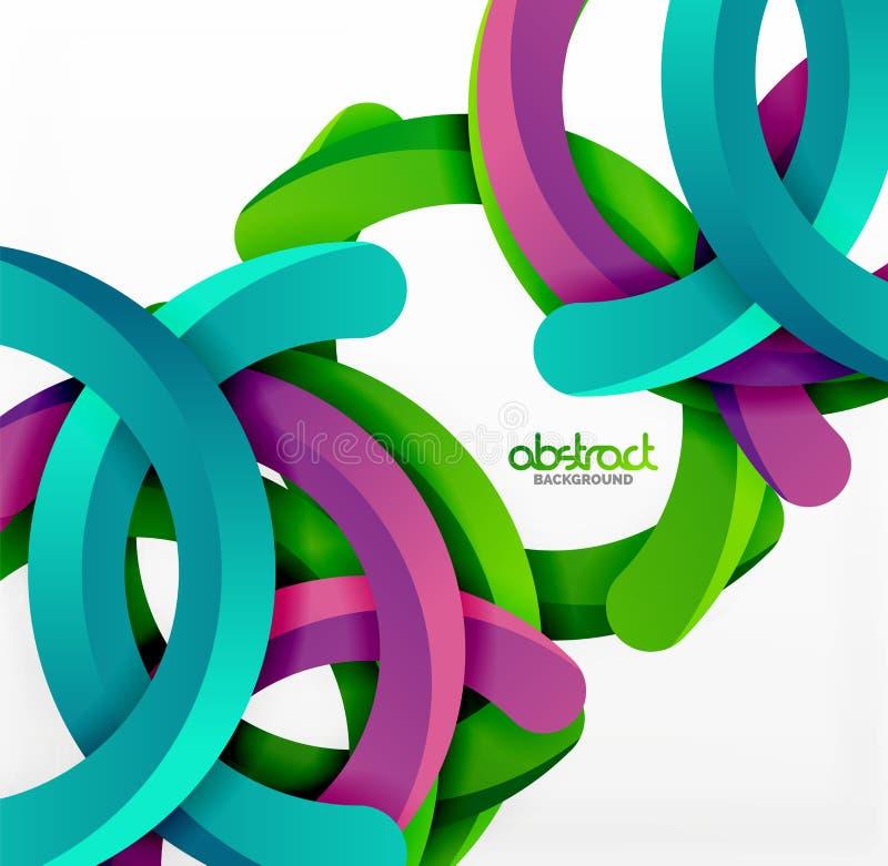 Il fondo geometrico moderno di stile 3d, incurva le linee circolari illustrazione di stock