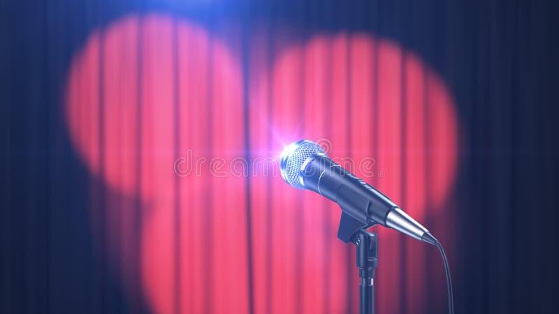 Il fondo, il microfono e le tende di concerto con i riflettori, 3d rendono royalty illustrazione gratis