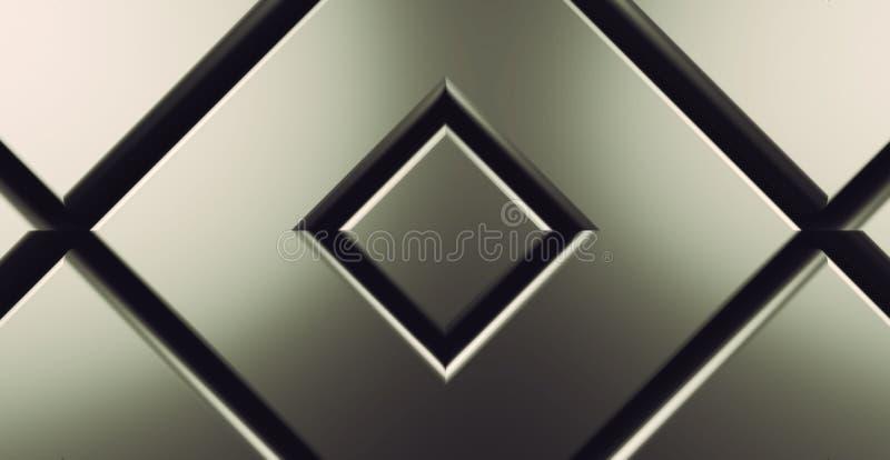 Il fondo moderno 3d del quadrato verde del metallo rende royalty illustrazione gratis