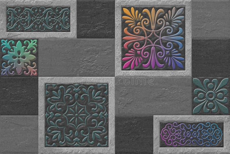 Il fondo Multy di Digital denuclea le mattonelle della parete illustrazione di stock