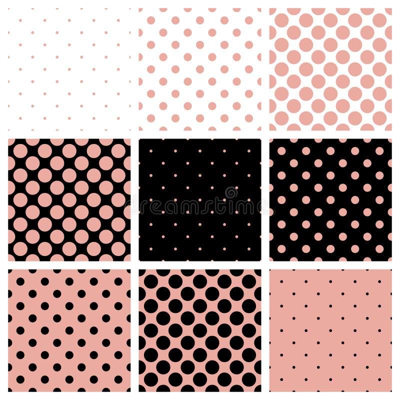 Il fondo nero, bianco e rosa ha messo con i pois royalty illustrazione gratis