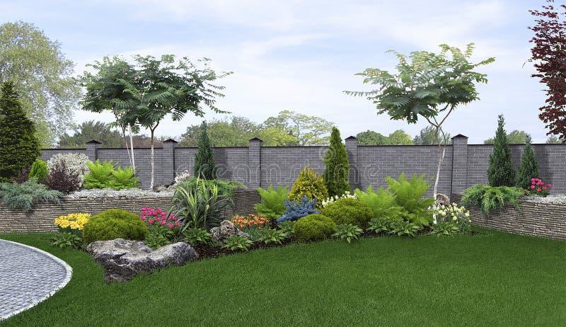 Il fondo orticolo del cortile, 3d rende illustrazione di stock