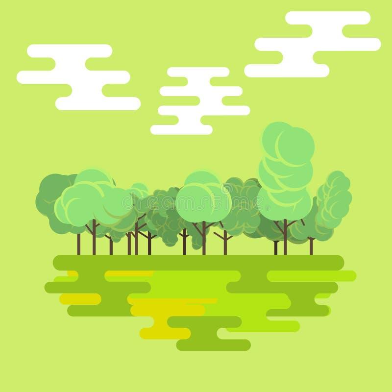 Il fondo piano del paesaggio della natura di verde di foresta ha isolato il vettore Bello colore tropicale dell'albero naturale P royalty illustrazione gratis