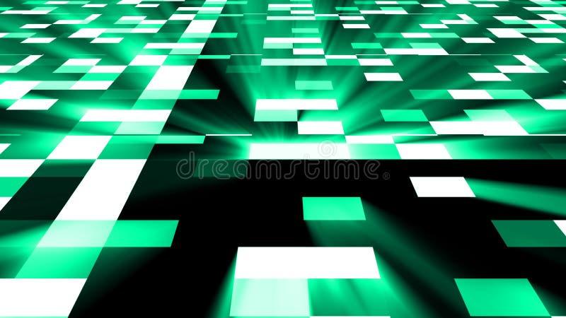 Il fondo quadrato astratto della tecnologia con il chiarore luminoso, 3d rende il contesto, arte digitale generata da computer illustrazione vettoriale