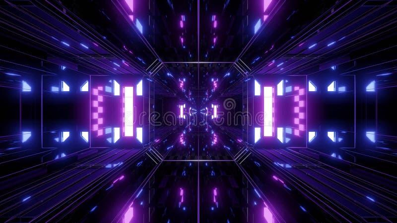 Il fondo riflettente del tunnel di scifi di Dak con nicec emette luce 3d rappresentazione dell'illustrazione 3d royalty illustrazione gratis
