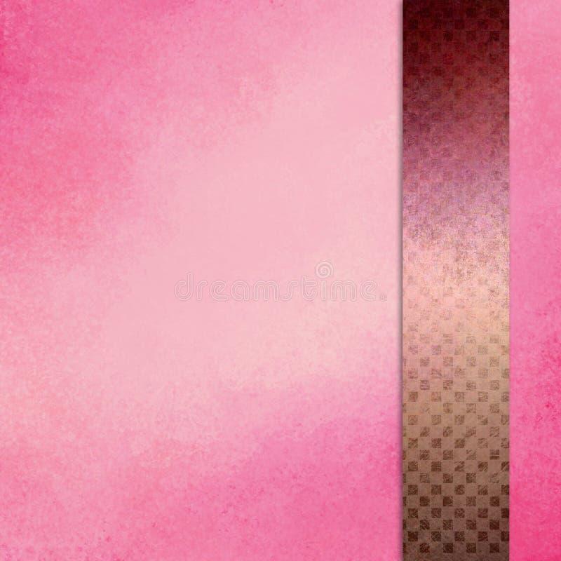 Il fondo rosa con il nastro della barra laterale o la banda nella porpora di Borgogna e dell'oro con struttura del quadrato del b illustrazione vettoriale