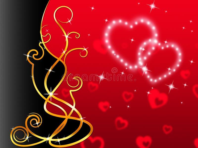 Il fondo rosso dei cuori significa l'amore caro e floreale illustrazione vettoriale