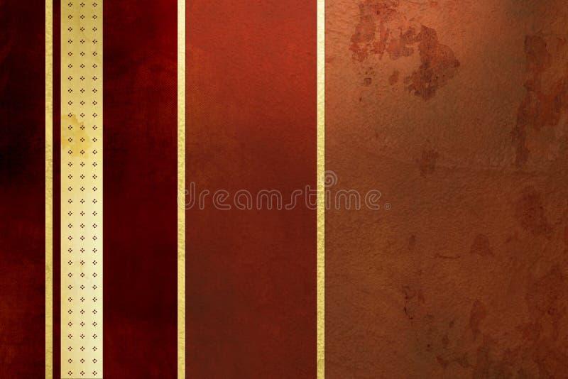 Fondo rosso - bande dorate - disegno elegante di lerciume fotografia stock libera da diritti
