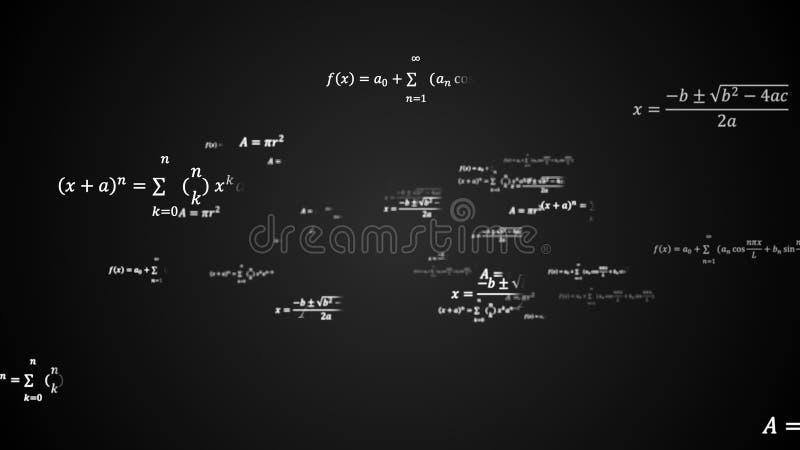 Il fondo scientifico 3d con le soluzioni fisiche e matematiche di compito, formule nello spazio, 3d ha generato il contesto illustrazione di stock