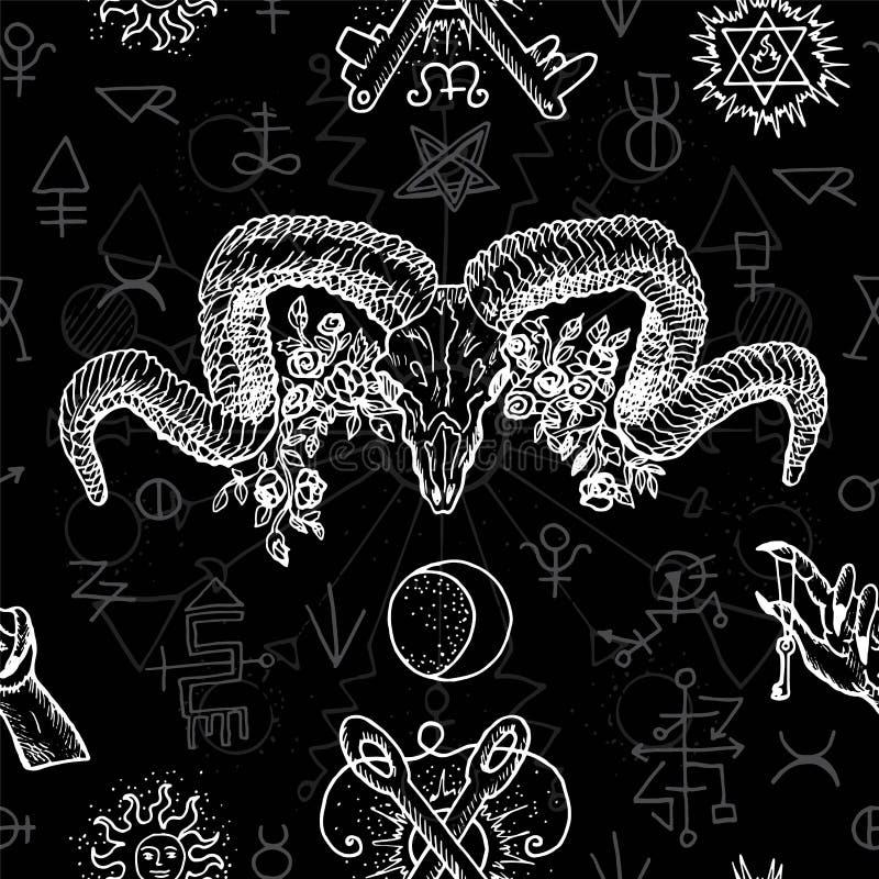 Il fondo senza cuciture in bianco e nero con i simboli mistici, alchemical e del freemason ed i diavoli si dirigono con i corni royalty illustrazione gratis