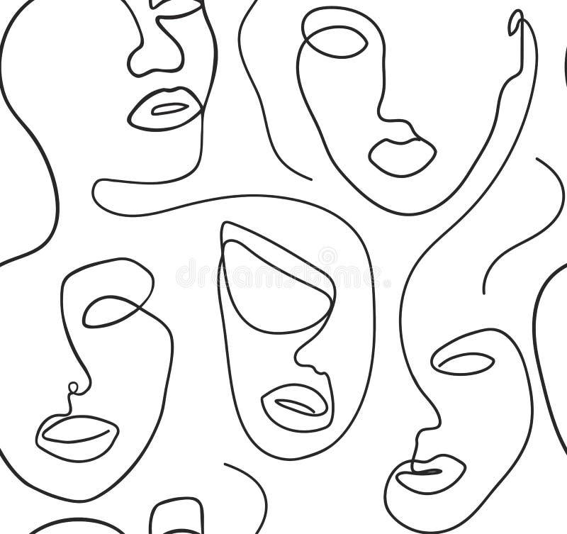 Il fondo senza cuciture con le donne affronta una linea stile illustrazione vettoriale