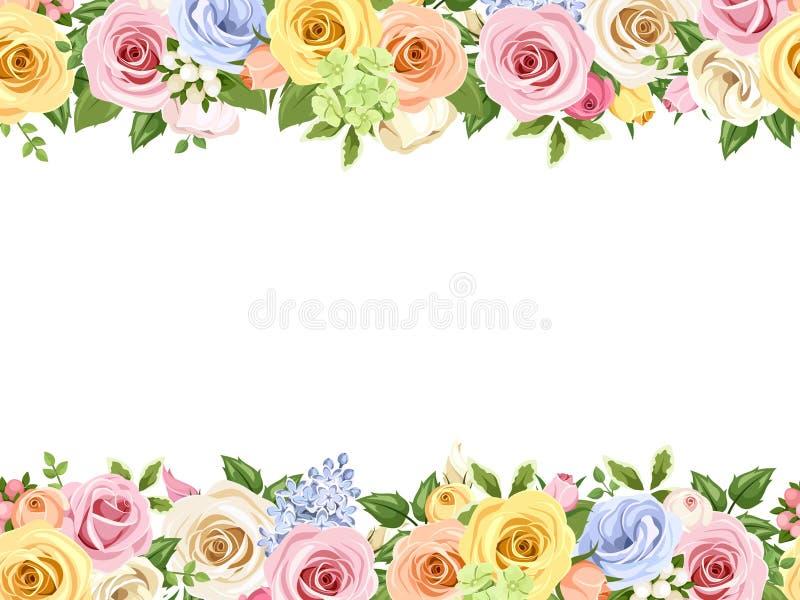 Il fondo senza cuciture orizzontale con le rose variopinte e il lisianthus fiorisce Illustrazione di vettore illustrazione di stock