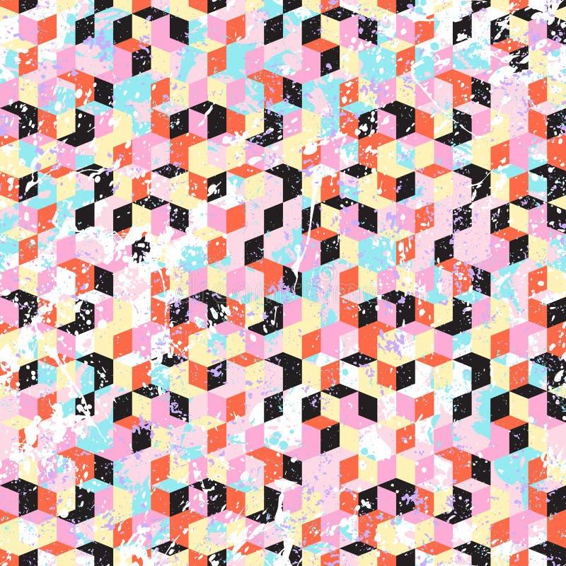 Il fondo techno dinamico astratto con la spruzzata della pittura e schizza illustrazione vettoriale