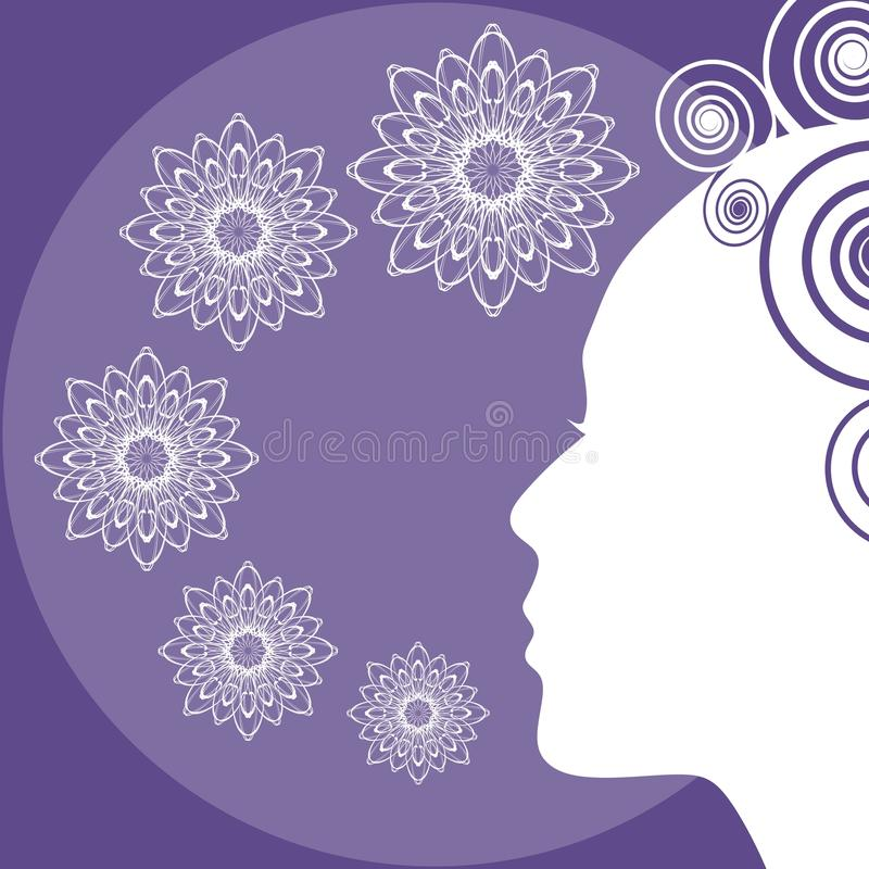 Il fondo ultravioletto con la siluetta del fronte di signora, porpora d'avanguardia si è combinato con il modello bianco e elegan illustrazione di stock