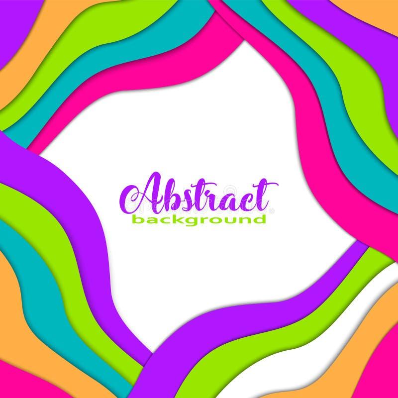 Il fondo variopinto luminoso dell'estratto 3D con carta ha tagliato le forme Colori d'avanguardia, onda, arcobaleno, struttura, q illustrazione vettoriale