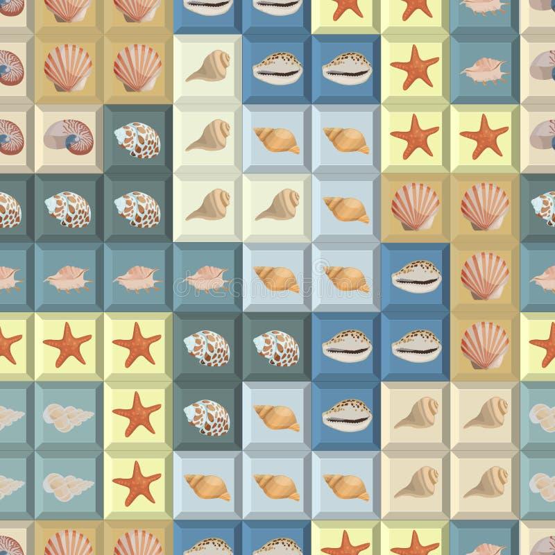 Il fondo variopinto senza cuciture con le conchiglie sui tetris modella illustrazione di stock