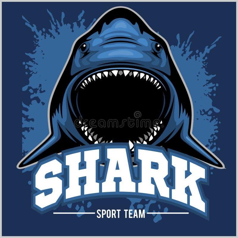 Il forte squalo mette in mostra la mascotte Illustrazione di vettore illustrazione vettoriale