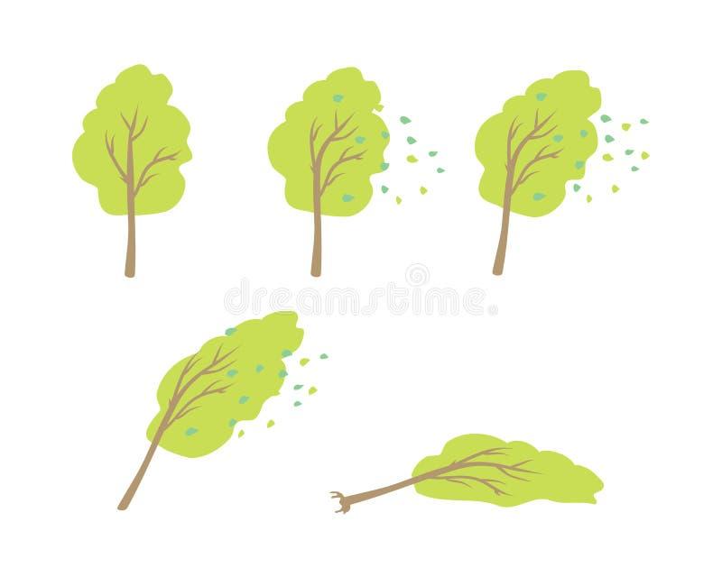 Il forte vento rovescia il vettore dell'albero nella progettazione piana illustrazione di stock